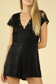 Wild Honey Lace Sleeve Romper - Front cropped