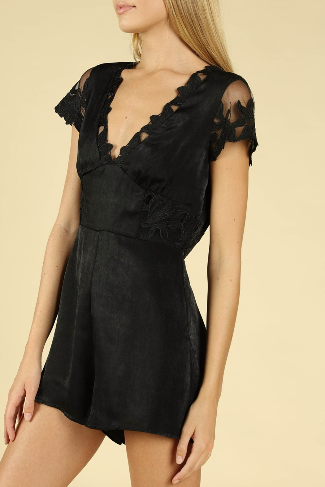 Wild Honey Lace Sleeve Romper - Side Cropped Image