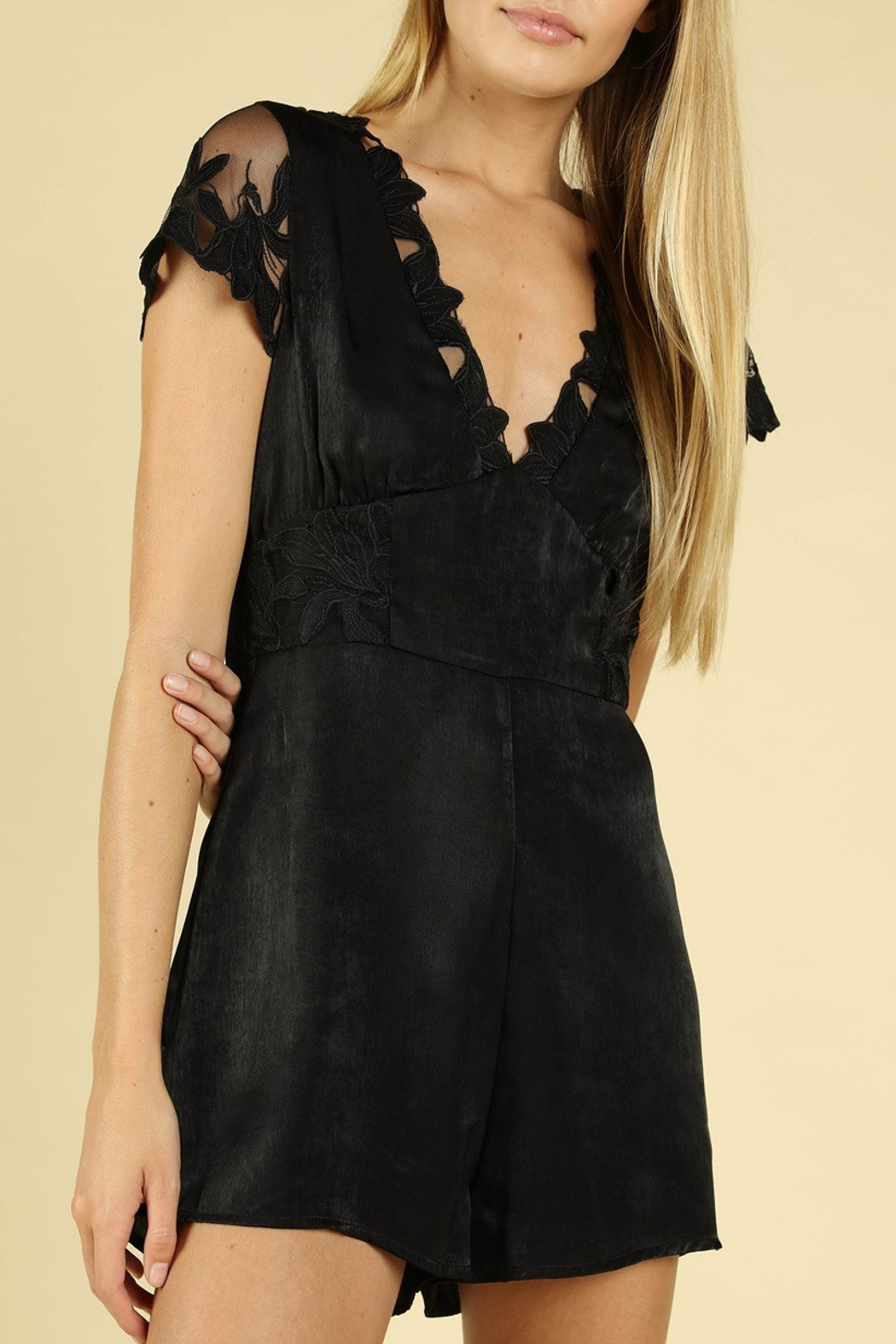 Wild Honey Lace Sleeve Romper - Front Full Image