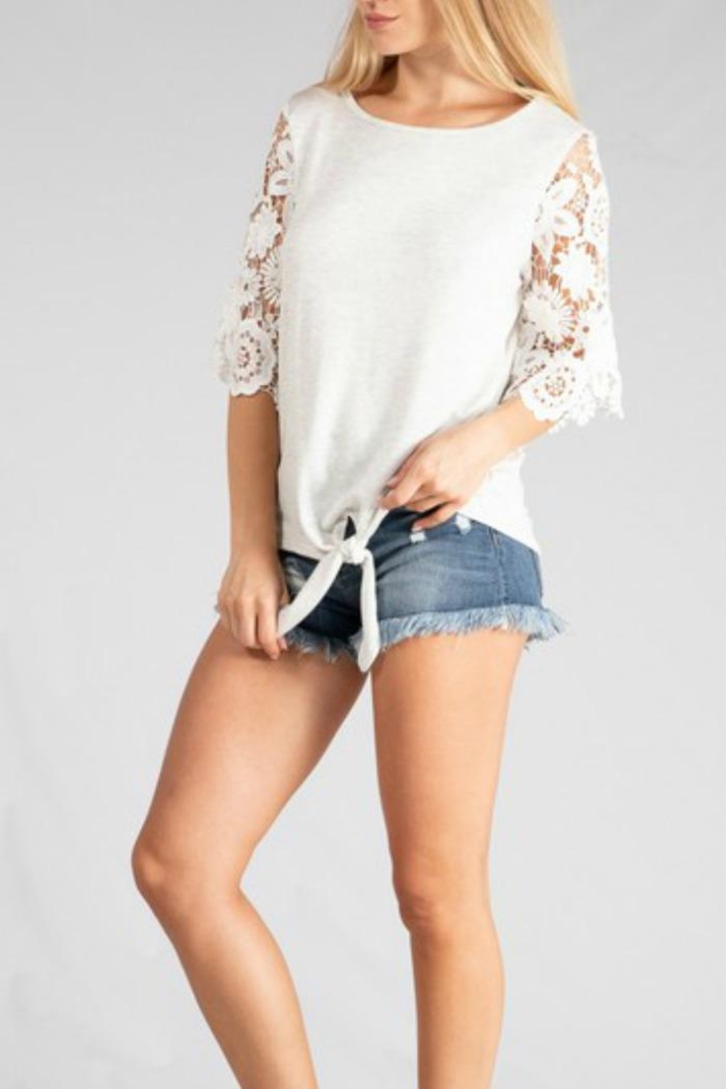Adora Lace-Sleeve Tie-Front Tee - Front Full Image