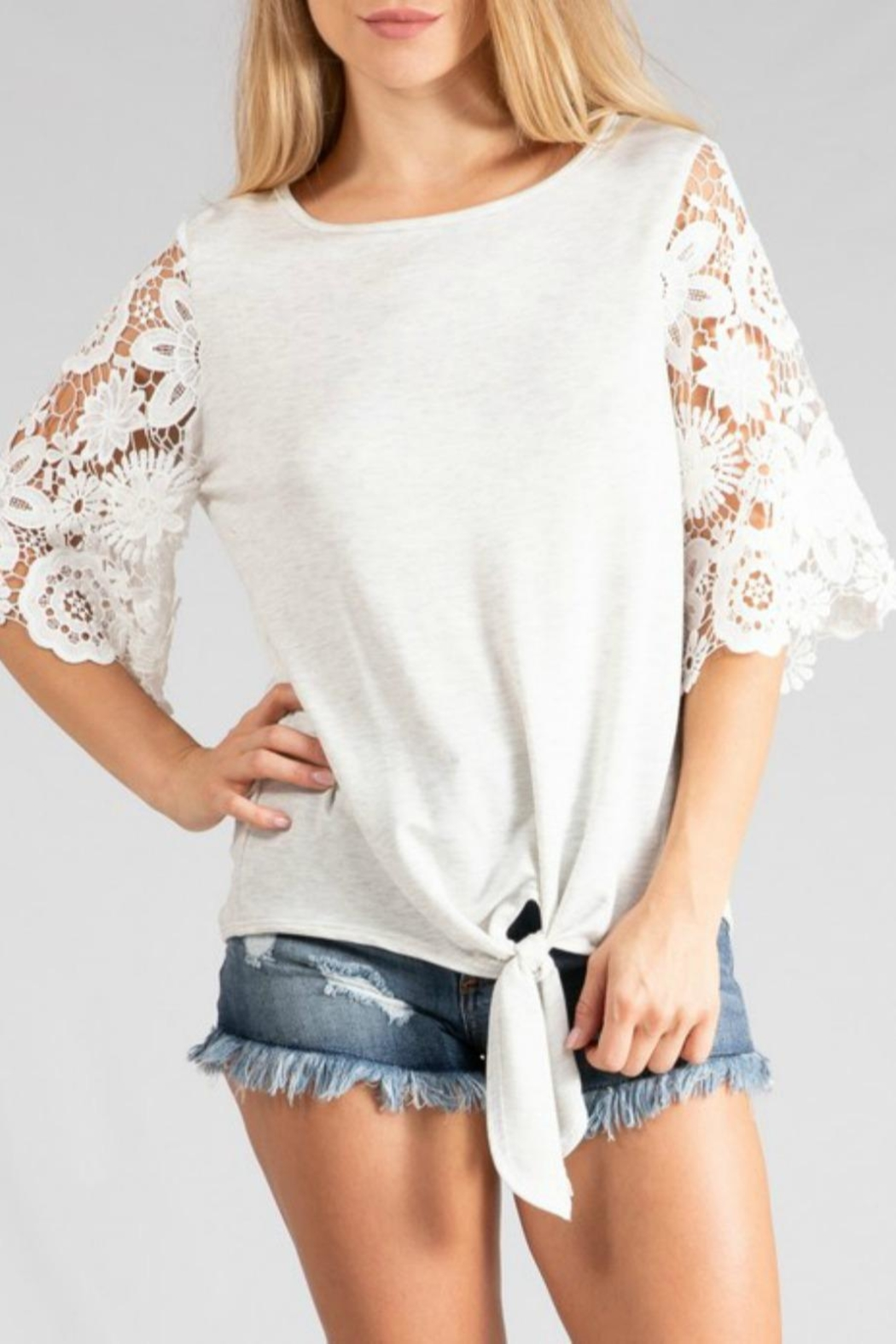 Adora Lace-Sleeve Tie-Front Tee - Main Image