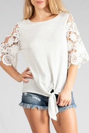 Adora Lace-Sleeve Tie-Front Tee - Product Mini Image