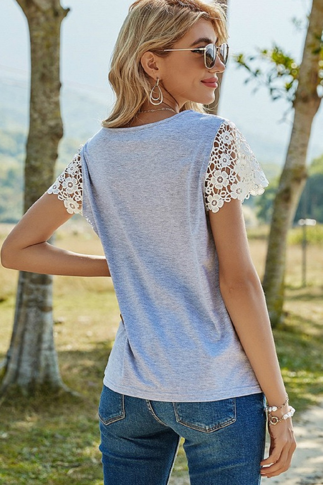 ePretty Lace Sleeve Top - Side Cropped Image