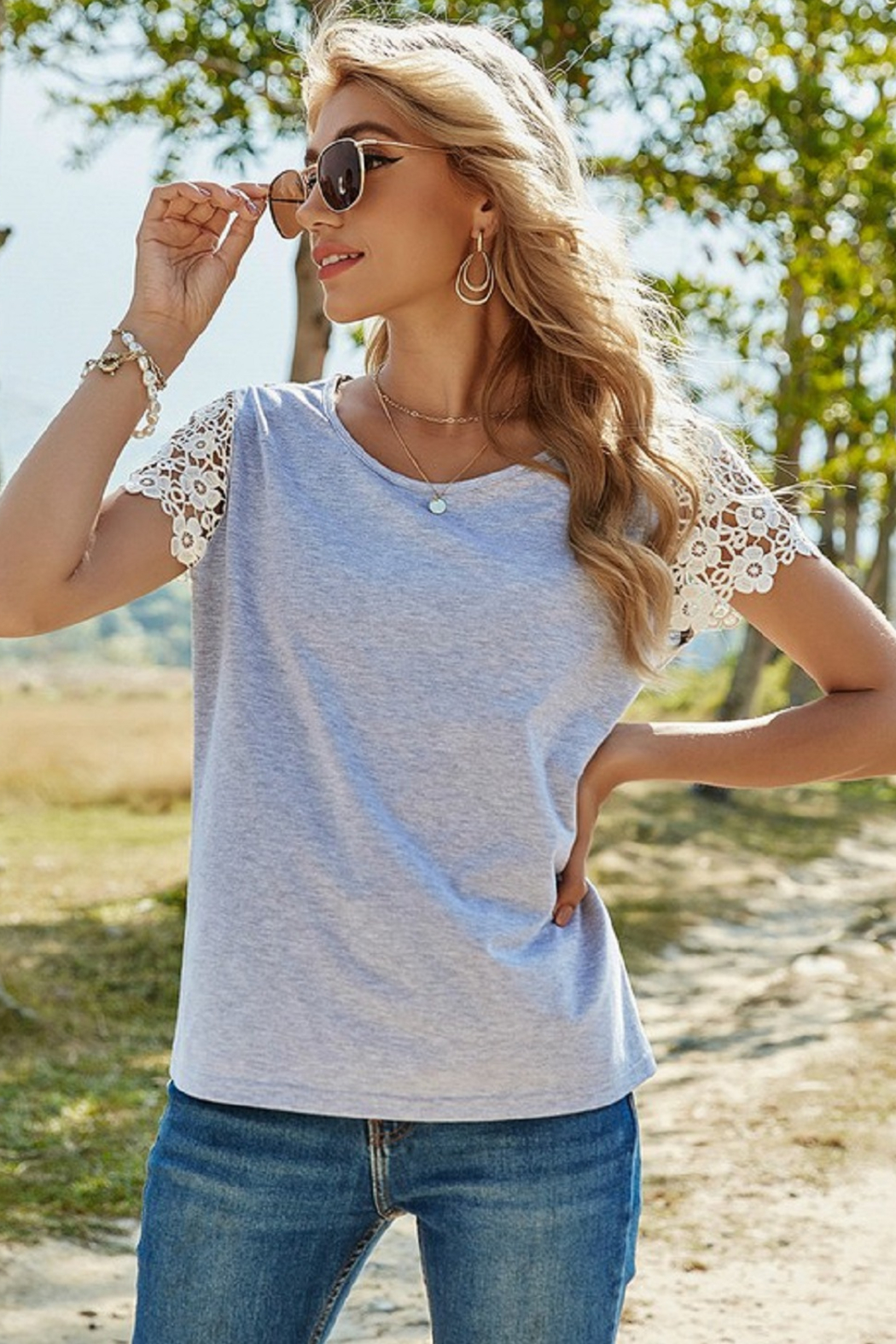 ePretty Lace Sleeve Top - Main Image