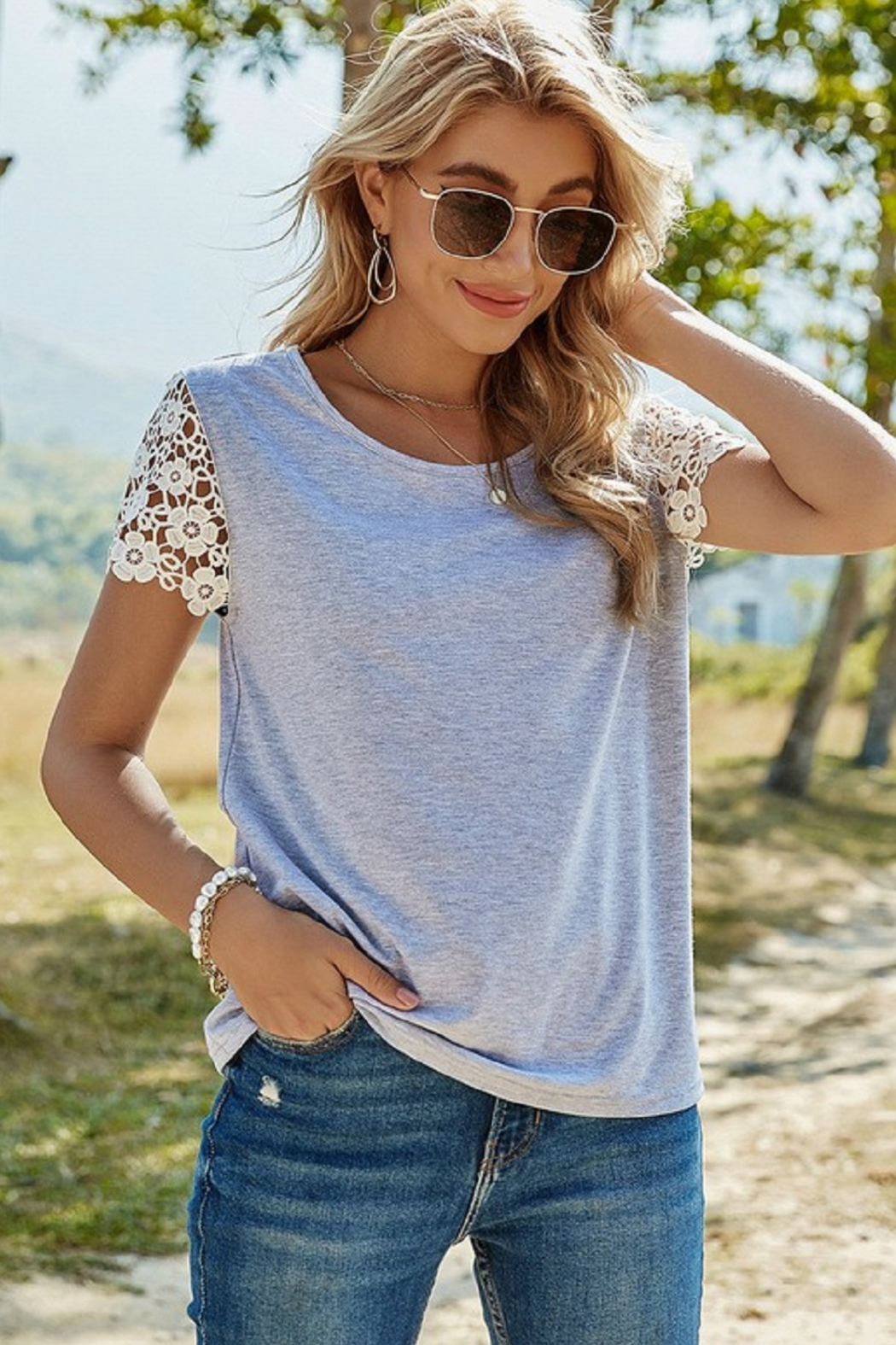ePretty Lace Sleeve Top - Front Cropped Image