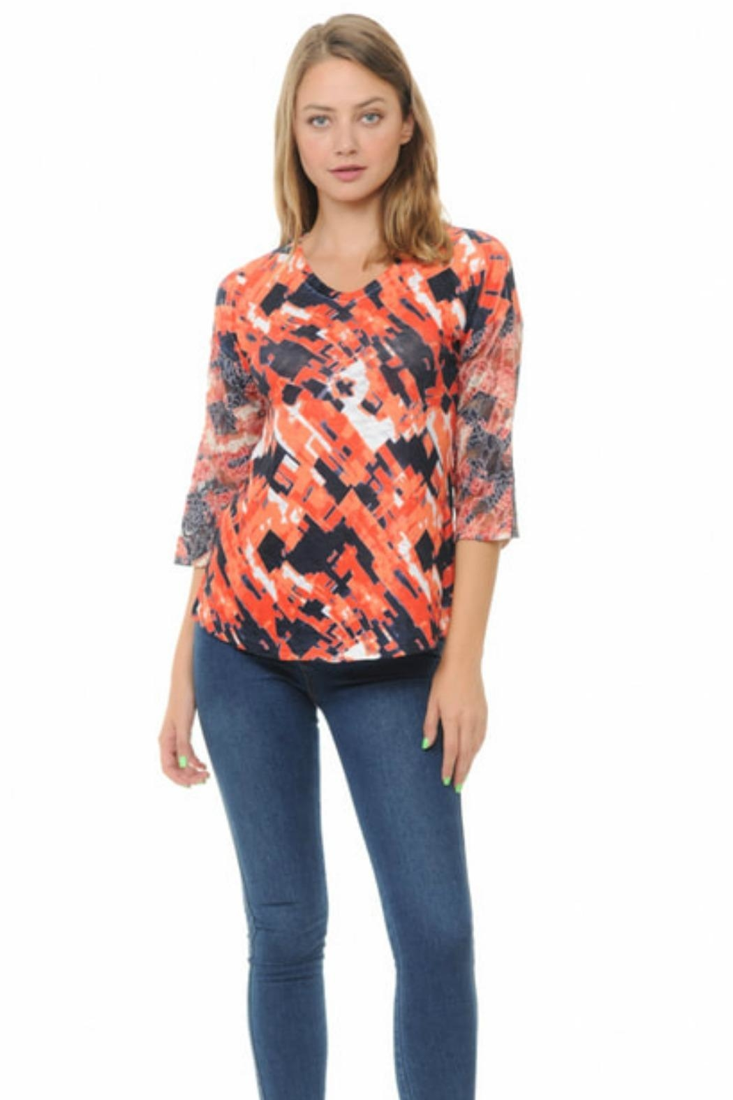 Cubism Lace Sleeve Top - Main Image