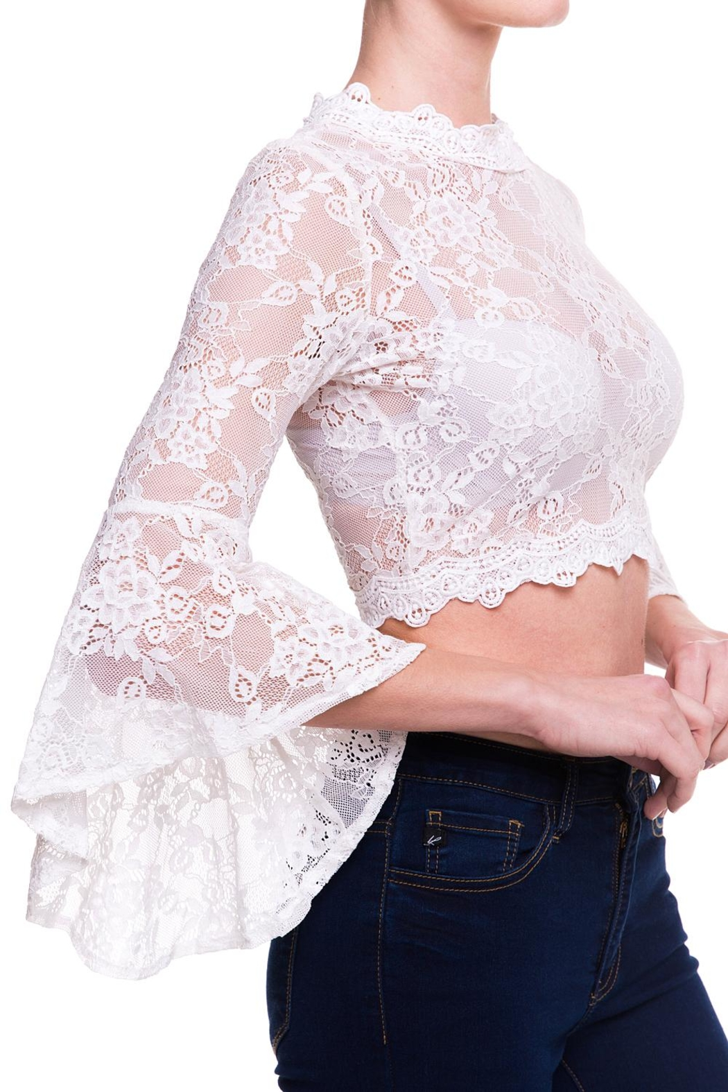 Salt Lace Sleeve Top - Side Cropped Image