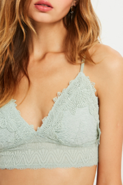 Listicle Lace Smocked Bralette - Front cropped