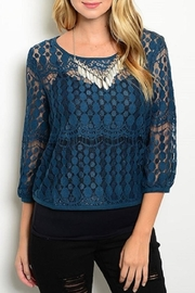 Adore Clothes & More Lace Teal Top - Product Mini Image