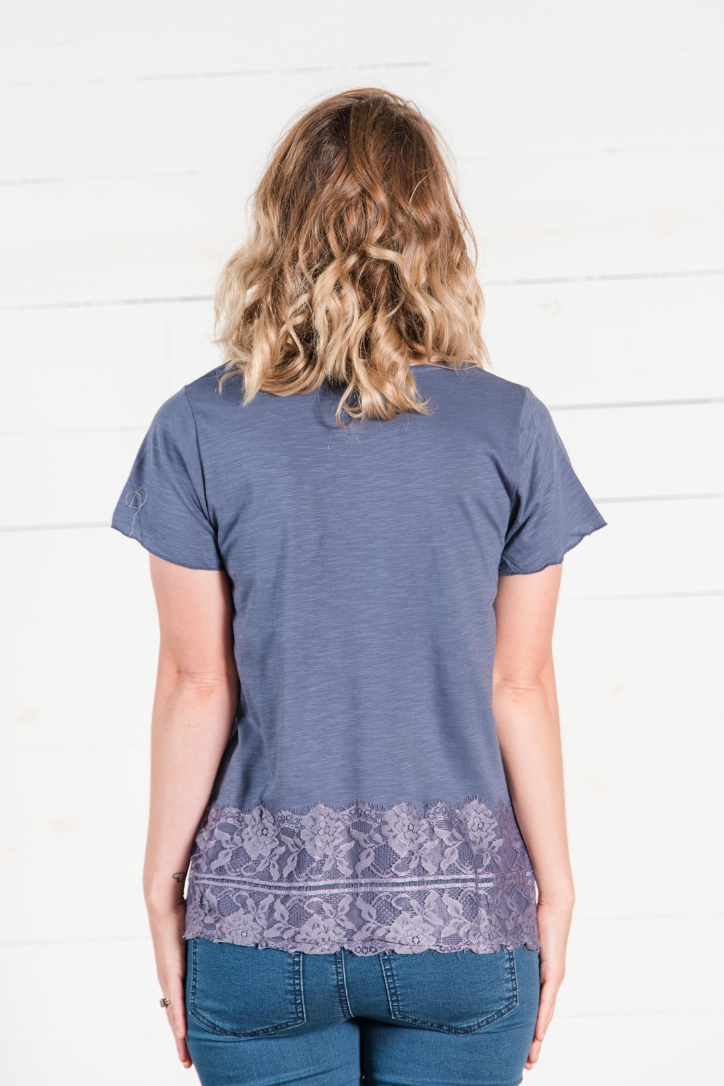 Go Fish Clothing Lace Tee - Back Cropped Image