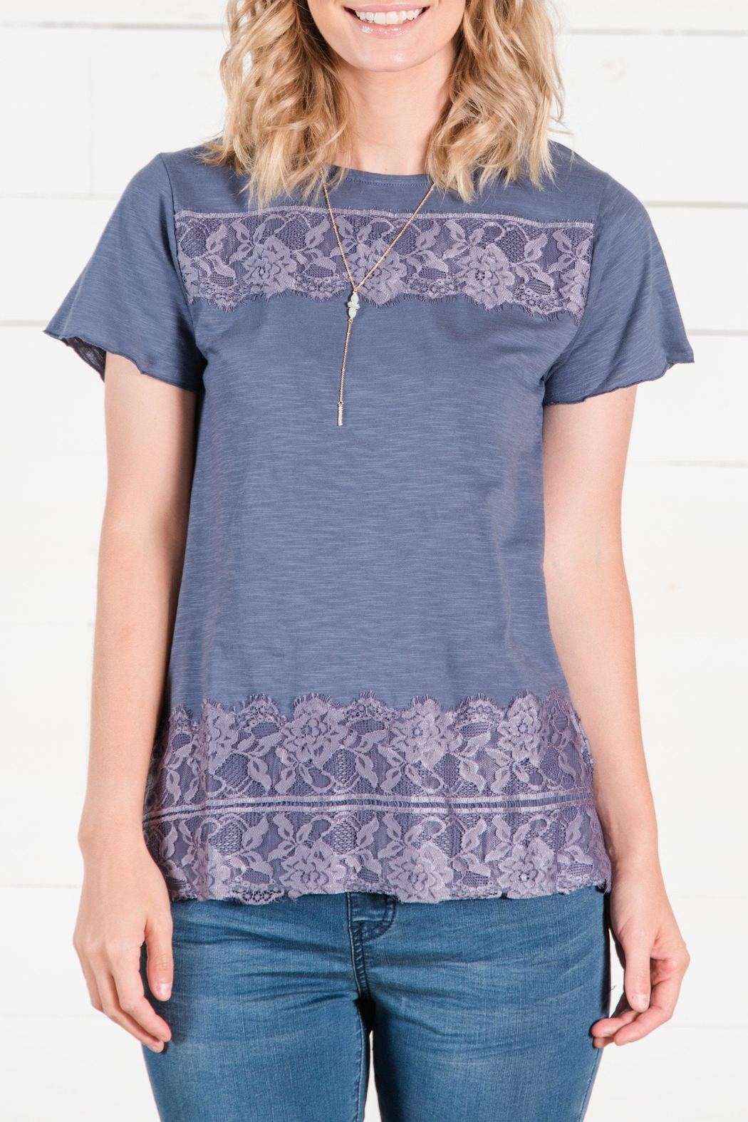 Go Fish Clothing Lace Tee - Front Cropped Image
