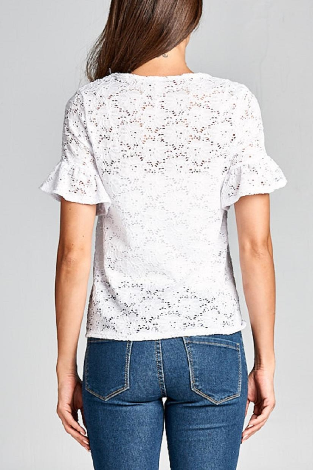 DNA Couture Lace Tie Shirt - Back Cropped Image