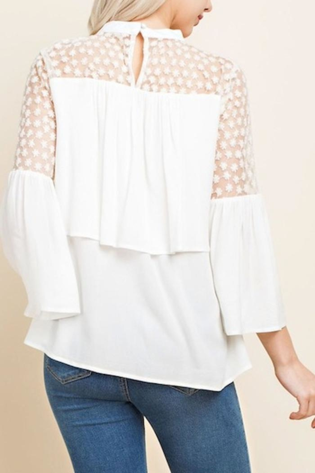 Blushing Heart Lace Top - Side Cropped Image