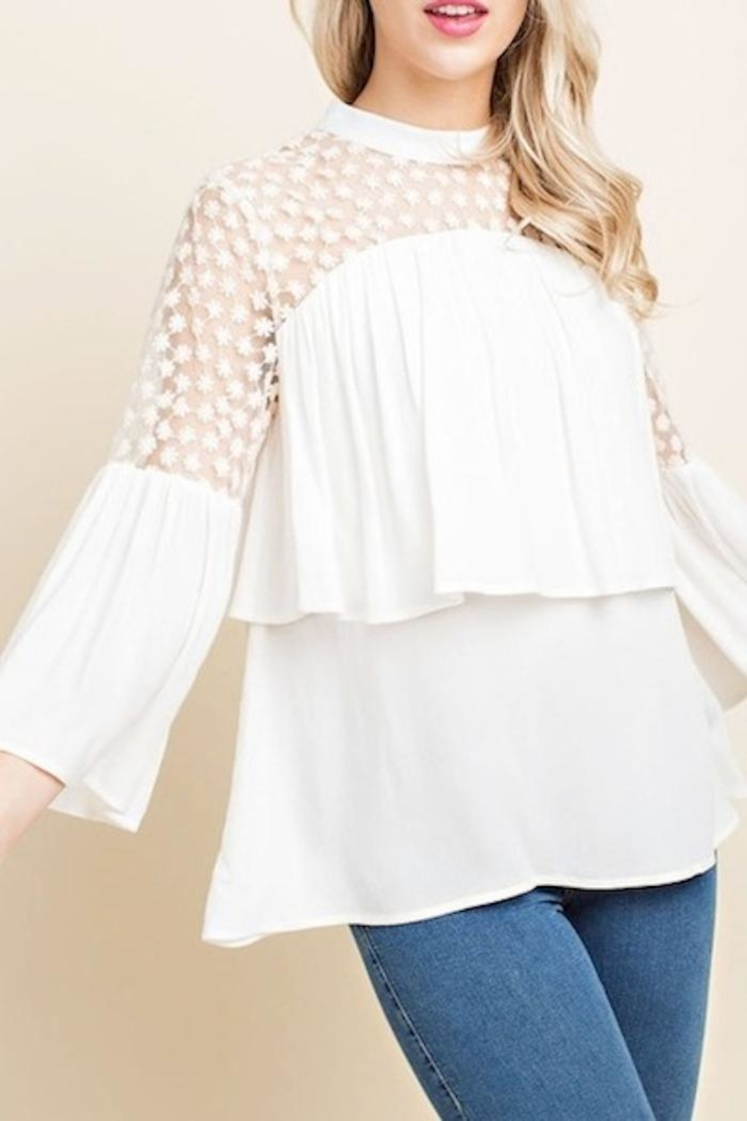 Blushing Heart Lace Top - Front Full Image