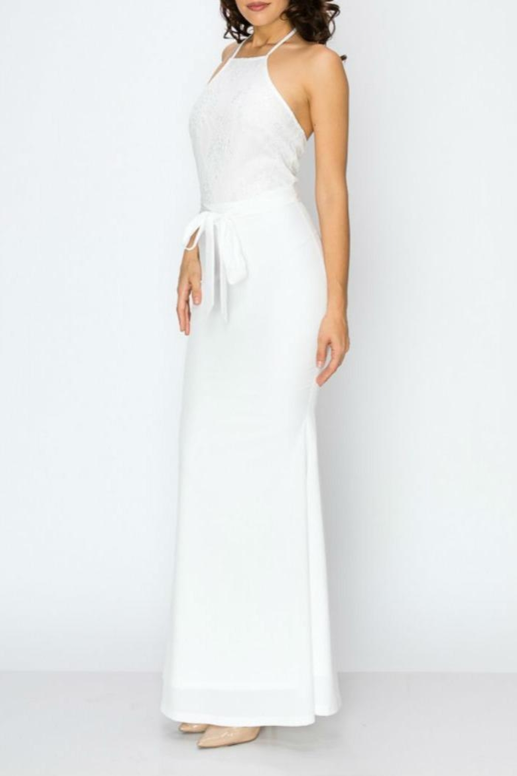 Clara Story Lace Top Longdress - Front Cropped Image