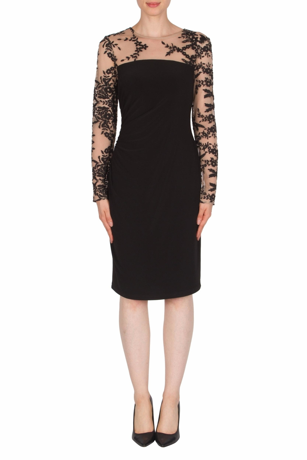 Joseph Ribkoff USA Inc. Lace Top Mock Neck Dress - Front Cropped Image