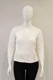 Alex Evenings Lace Top with Illusion Sleeves, White - Product Mini Image