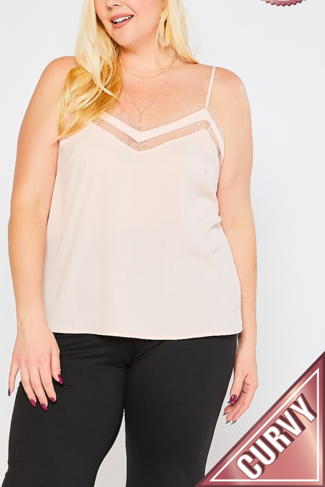 Lyn-Maree's  Lace Topped Cami, Plus Sizes! - Main Image