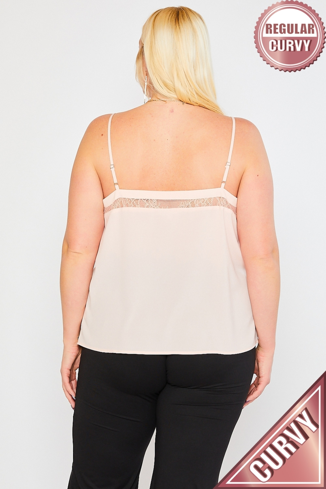 Lyn-Maree's  Lace Topped Cami, Plus Sizes! - Front Full Image