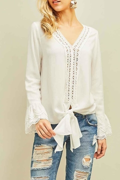 Shoptiques Product: Lace Trim Bell-Sleeve