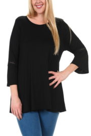 Chris & Carol Apparel Lace trim belle sleeve top - Front cropped