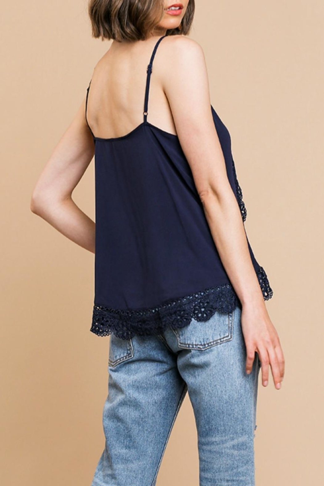 Umgee USA Lace Trim Cami-Tank - Side Cropped Image
