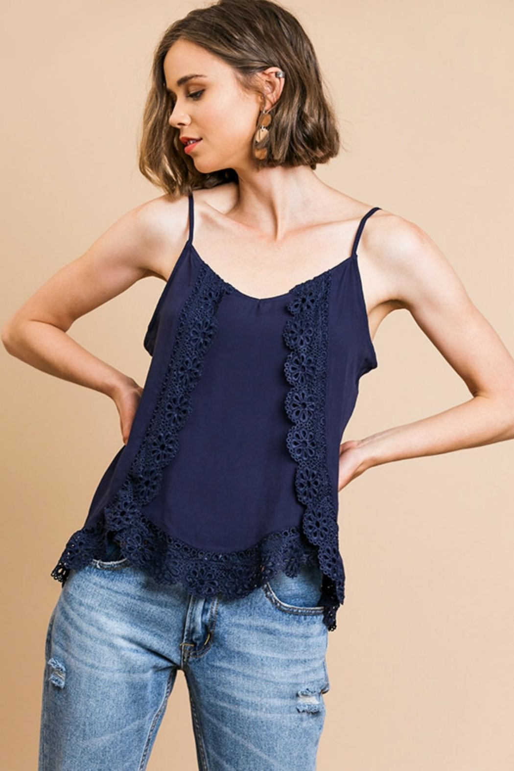 Umgee USA Lace Trim Cami-Tank - Main Image