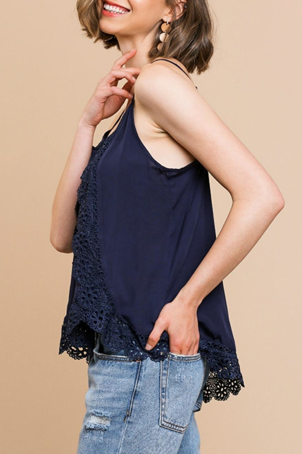 Umgee USA Lace Trim Cami-Tank - Front Full Image