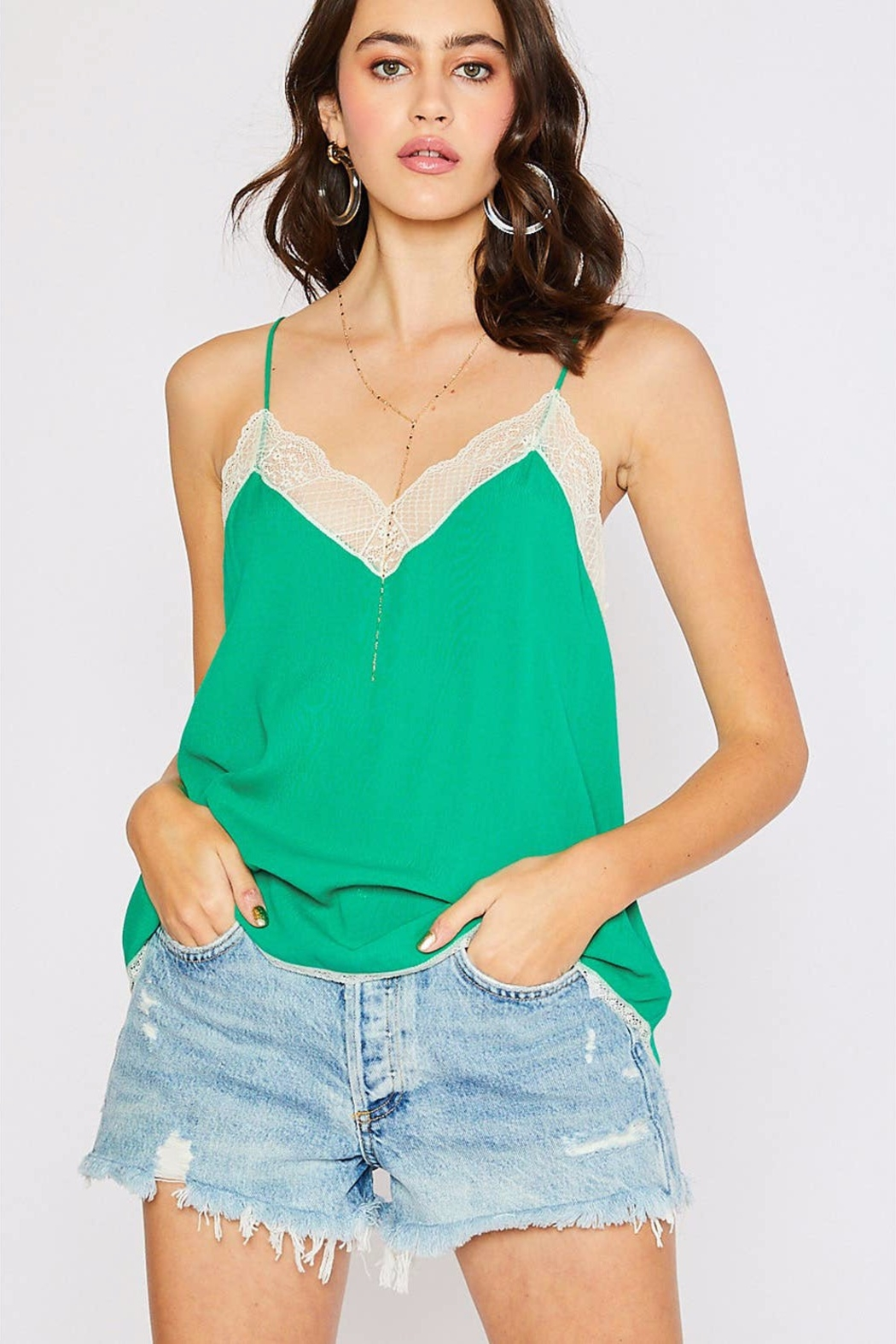 Cherry On Lace Trim Camisole - Front Cropped Image