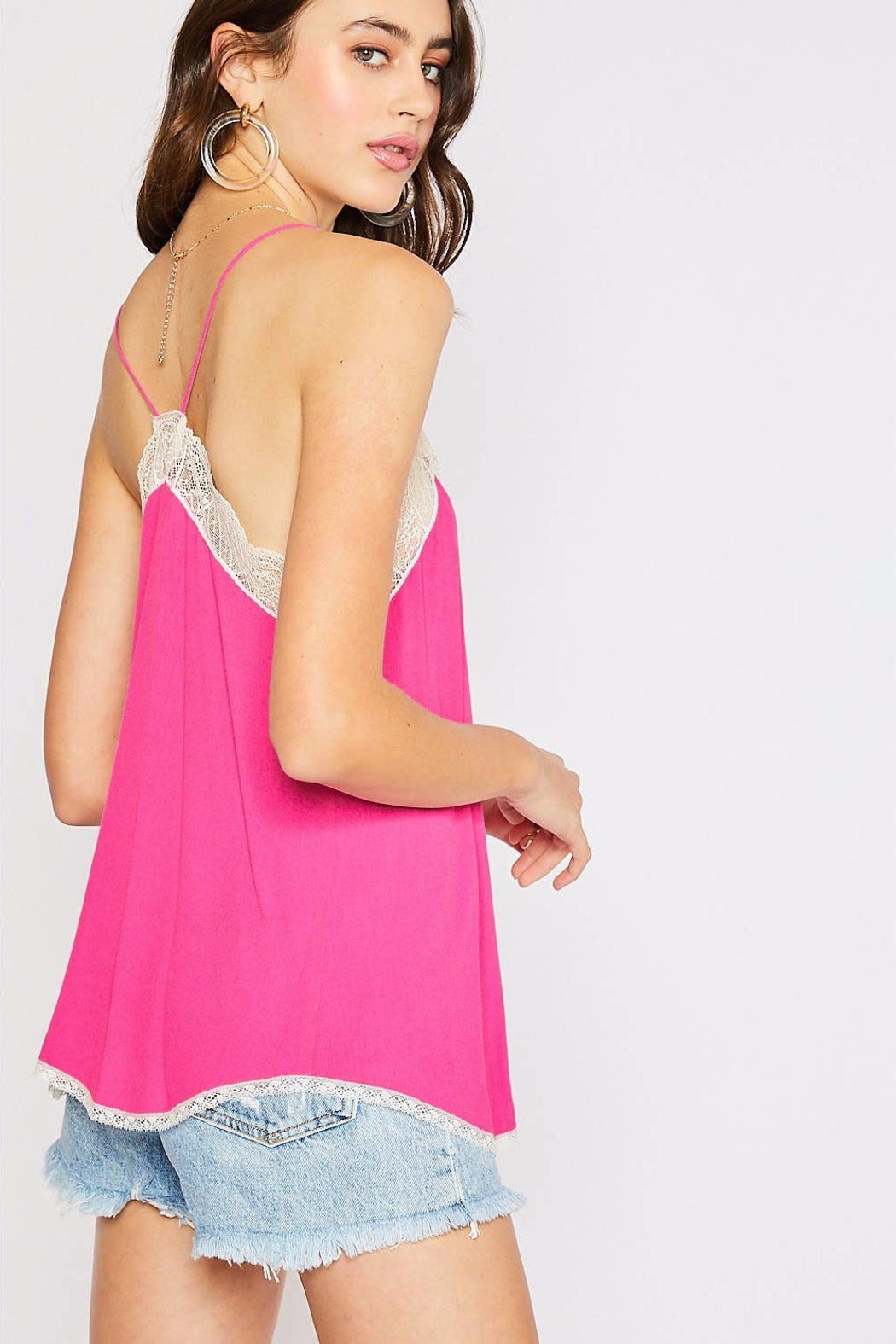 Cherry On Lace Trim Camisole - Front Full Image