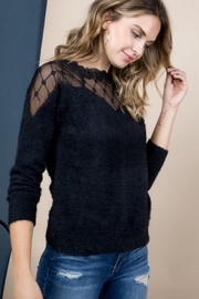 Blue B LACE TRIM LONG SLEEVE SWEATER TOP - Product Mini Image