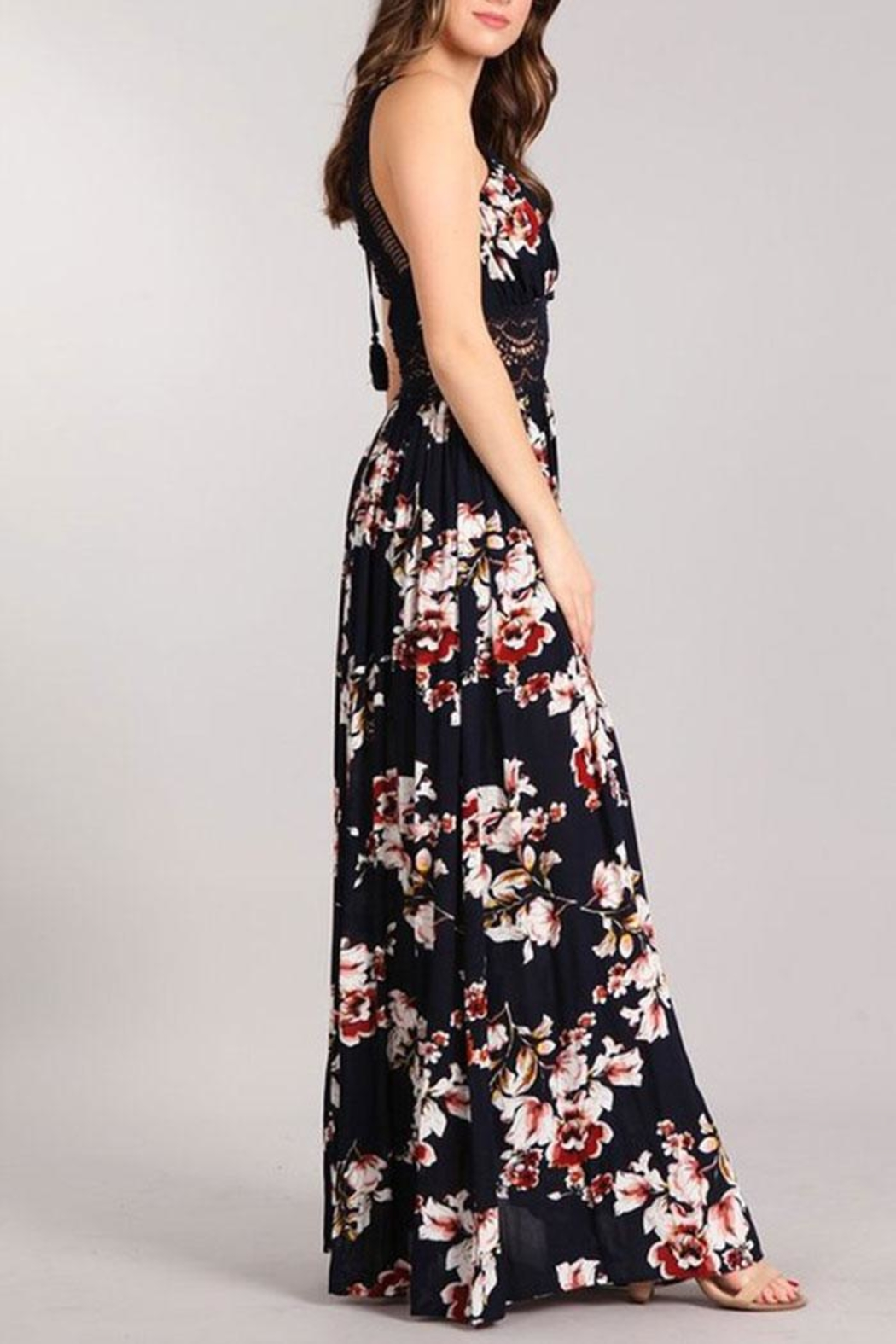 Sung Light Lace Trim Maxi - Back Cropped Image