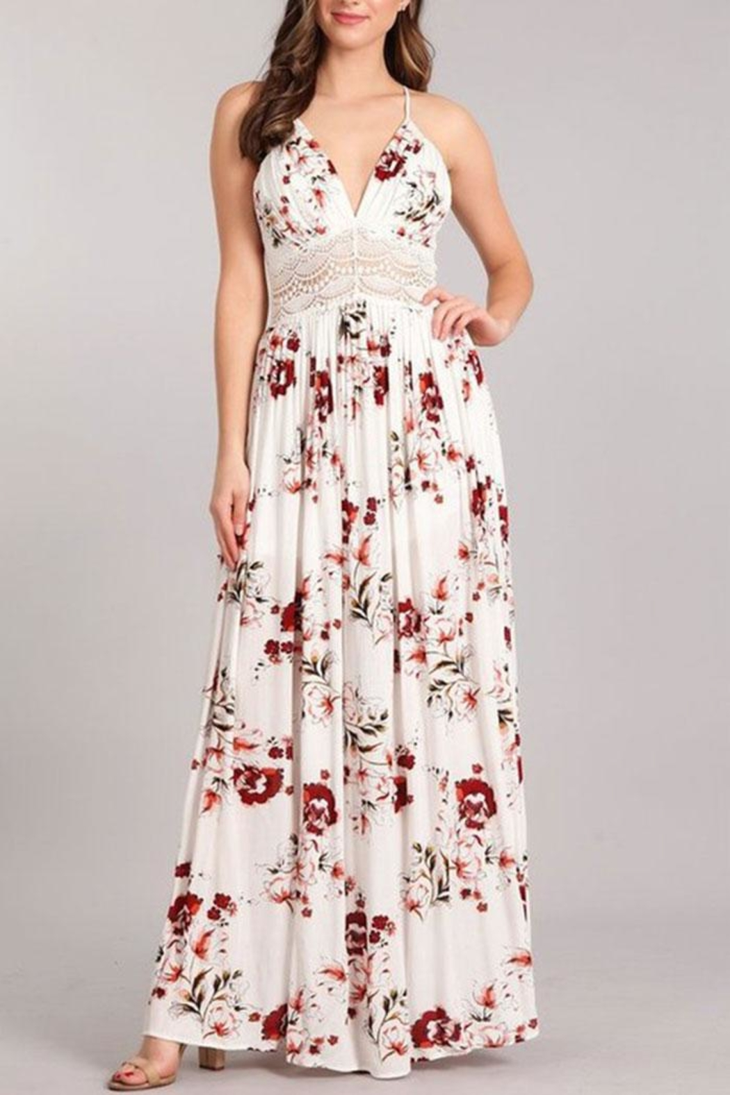 Sung Light Lace Trim Maxi - Front Cropped Image
