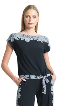 Clara Sunwoo Lace Trim Print Cap Sleeve Soft Knit Blouse Top - Product List Image