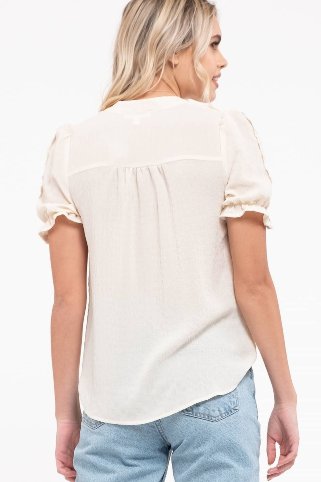 blu pepper  LACE TRIM PUFF SLEEVE TOP - Front Full Image