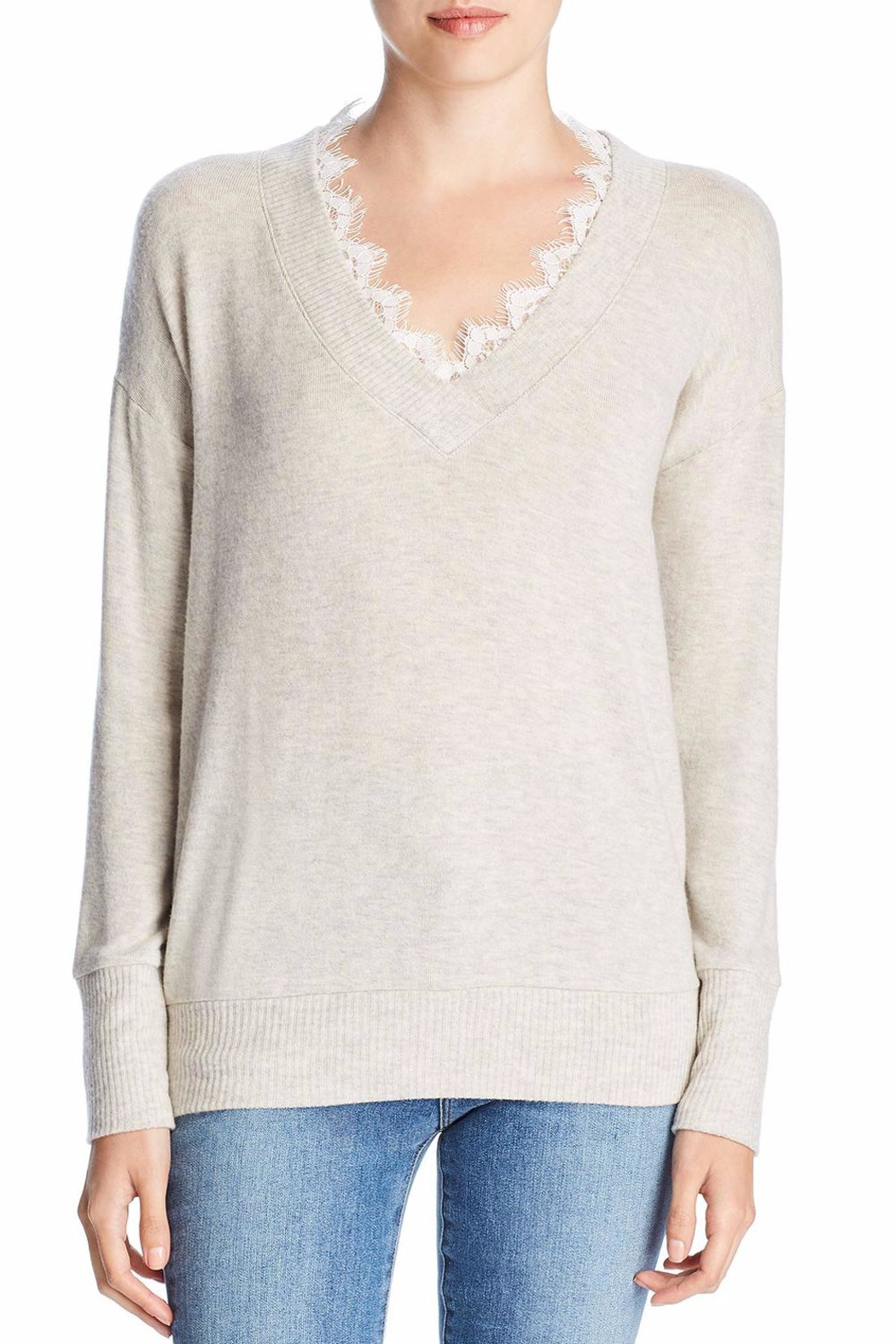 Three Dots Lace Trim Sweater - Front Cropped Image