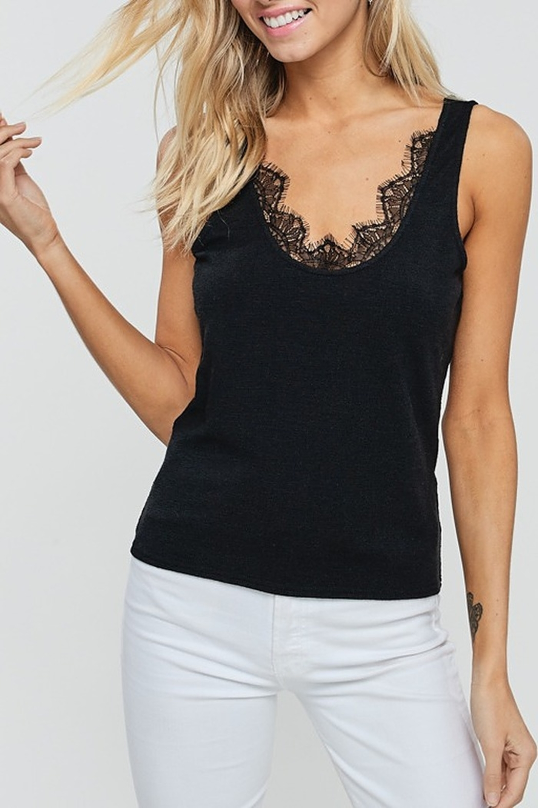 crescent Lace Trim Tank - Front Cropped Image