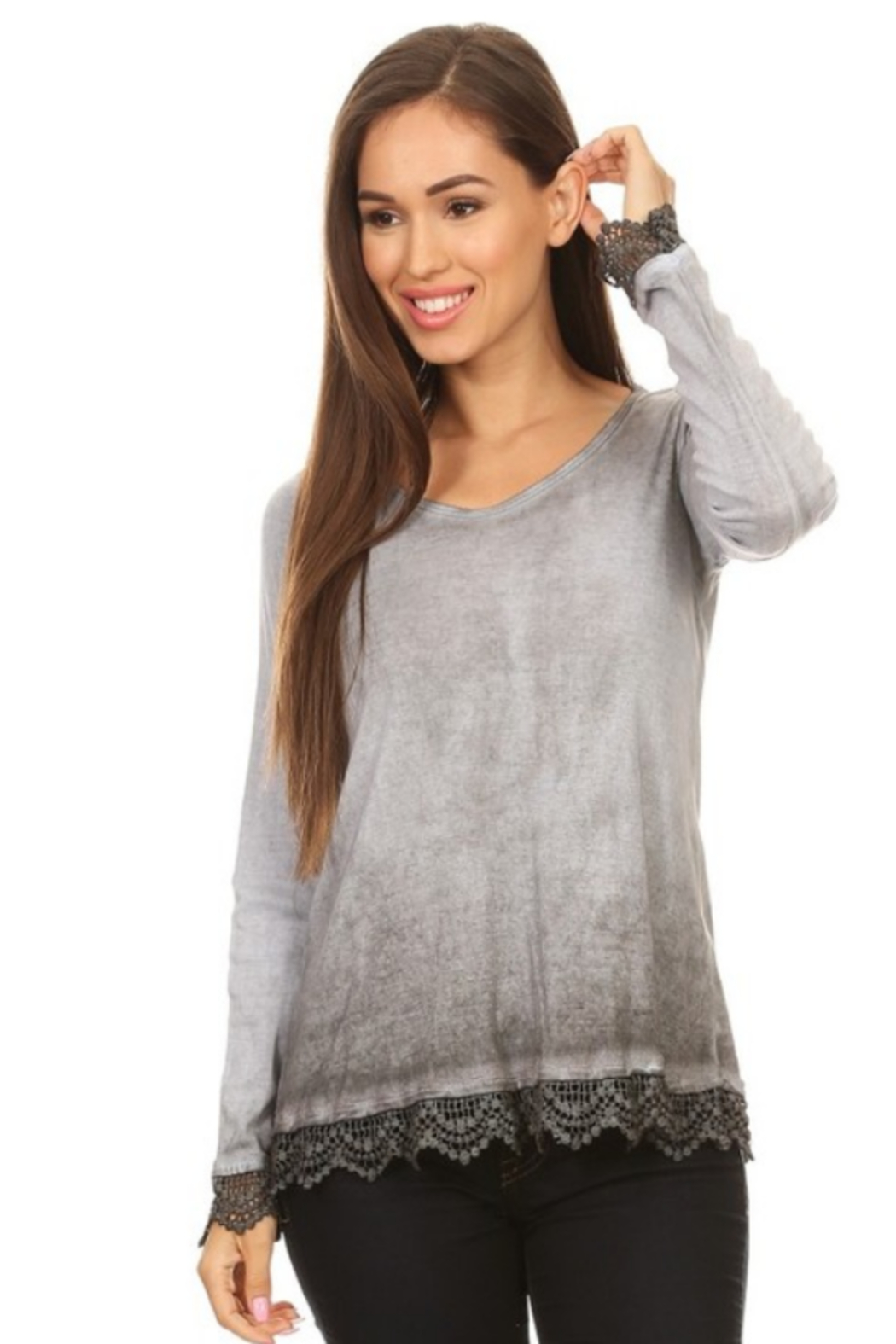 T Party Lace Trimmed Ombre Knit Top - Main Image