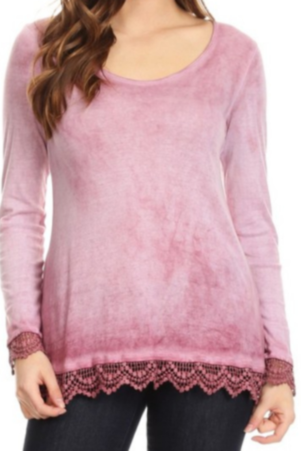 T Party Lace Trimmed Ombre Knit Top - Front Cropped Image