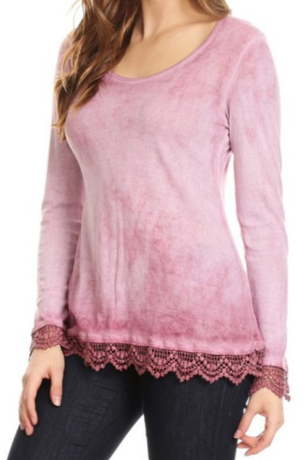 T Party Lace Trimmed Ombre Knit Top - Front Full Image