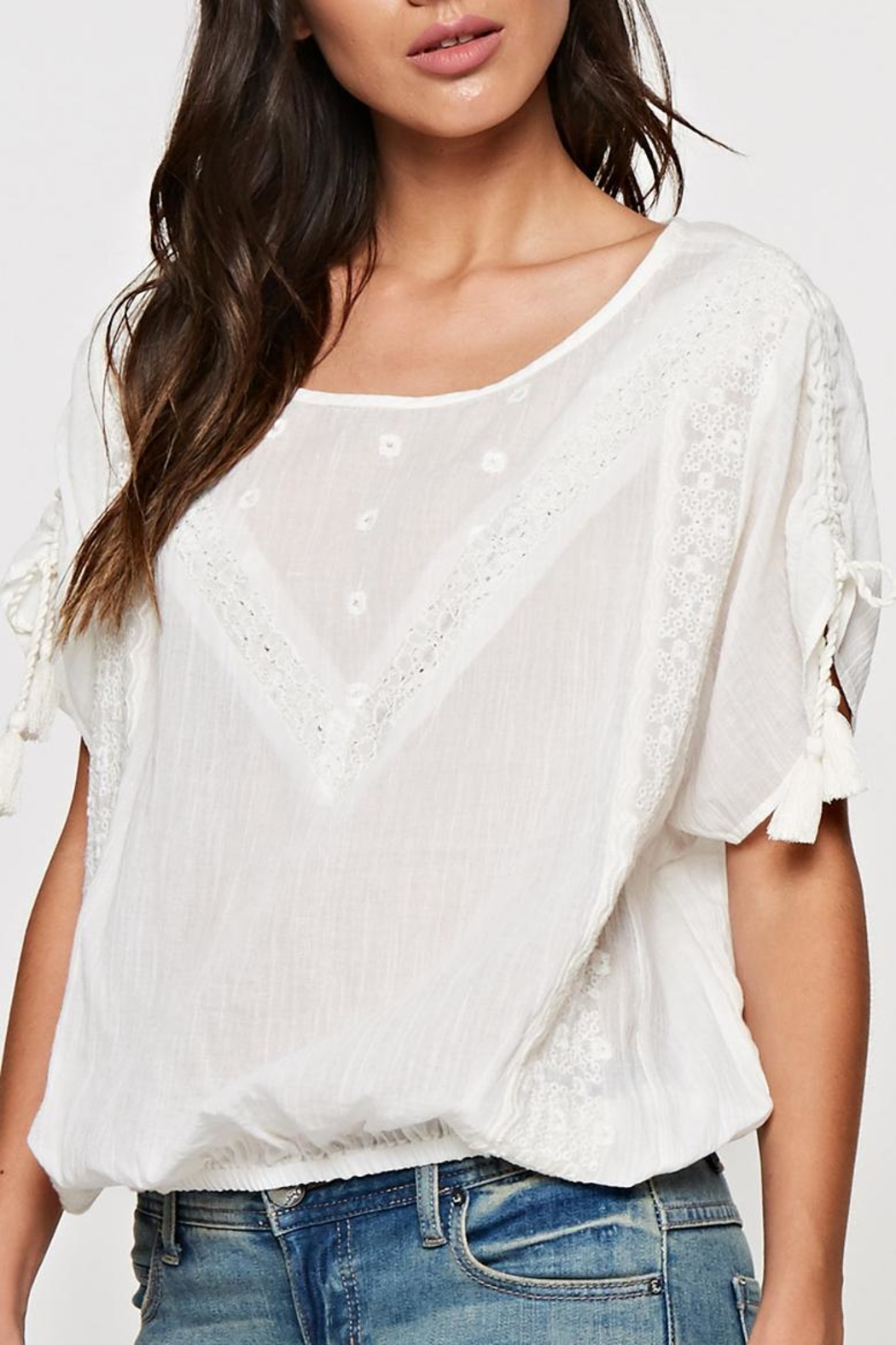 Lovestitch Lace Trimmed Top - Back Cropped Image