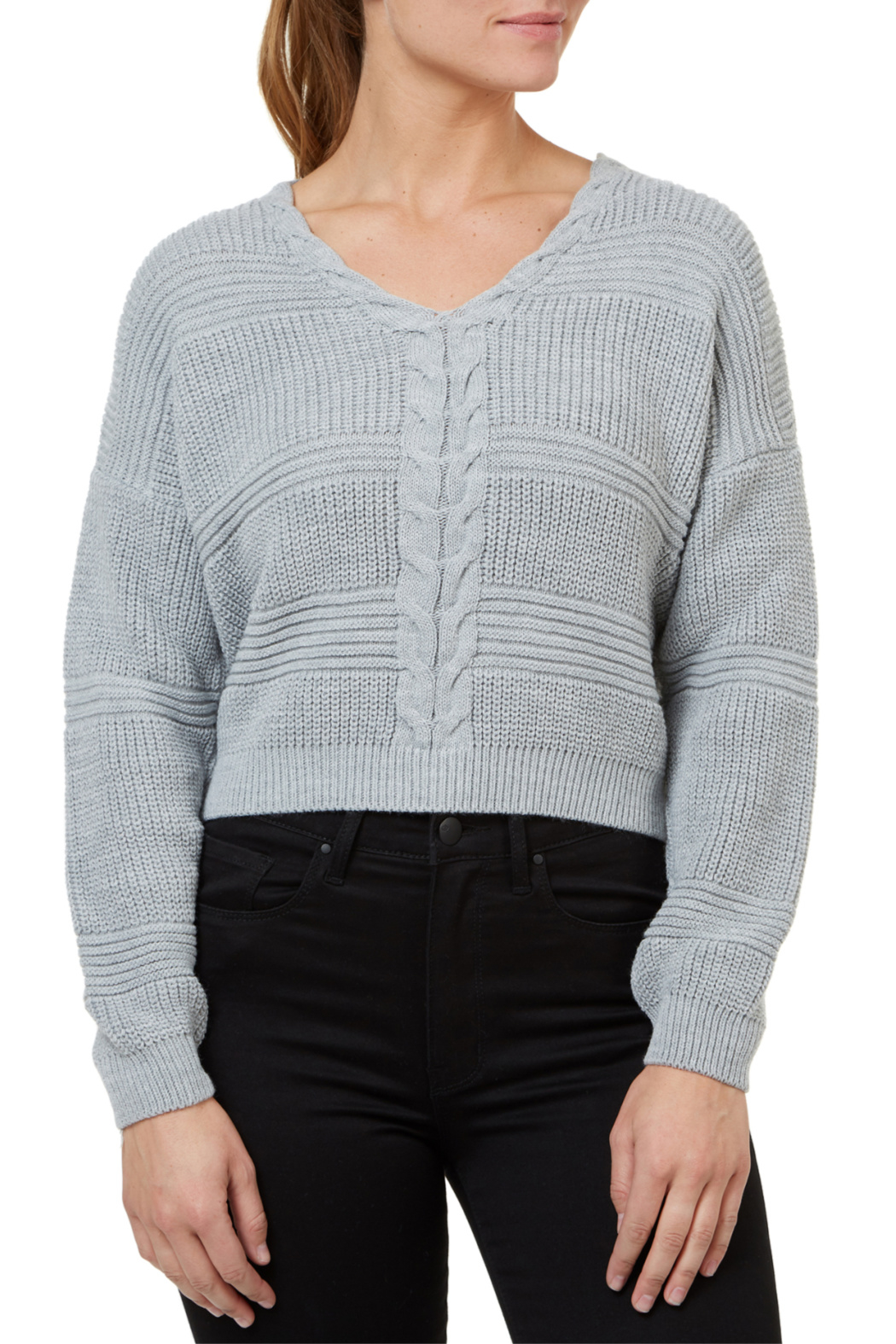 Numero Denim Lace Up Back Crop Sweater - Main Image