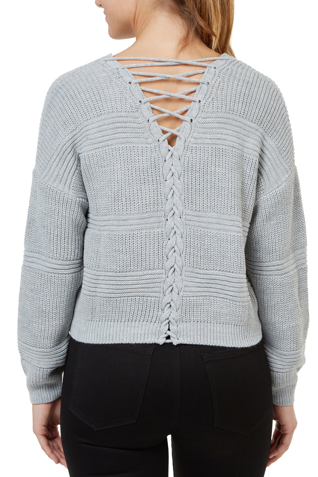 Numero Denim Lace Up Back Crop Sweater - Front Full Image