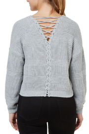 Numero Denim Lace Up Back Crop Sweater - Front full body