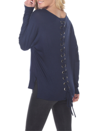 Ariella Lace up Back Dolman Sleeve Top - Product Mini Image