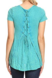 T Party Lace Up Back Short Sleeve Top - Front full body