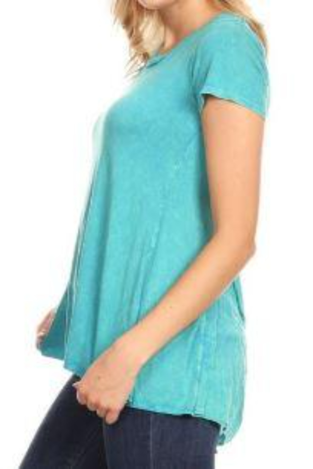 T Party Lace Up Back Short Sleeve Top - Side Cropped Image