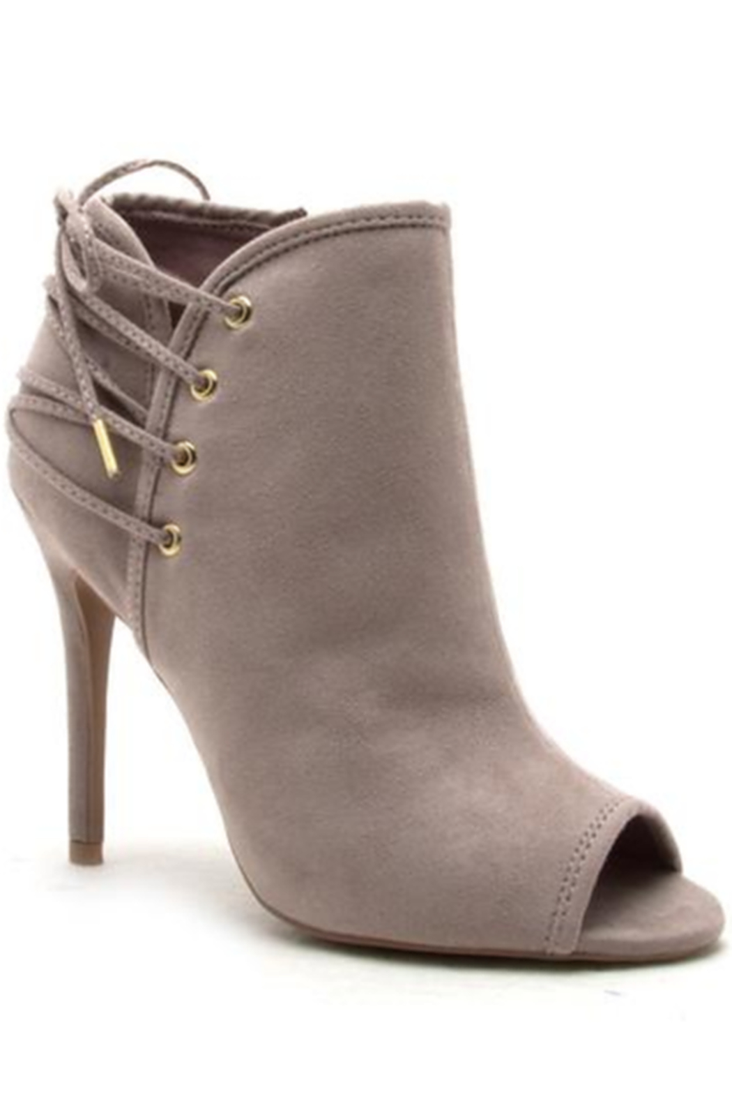 Qupid Lace Up Back Stiletto Booties - Front Cropped Image