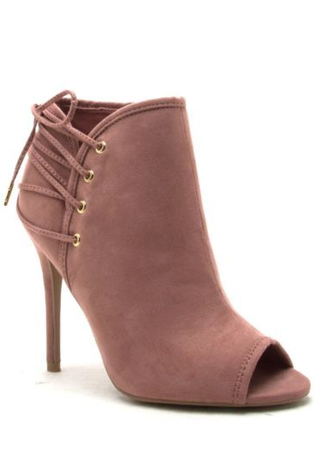 Qupid Lace Up Back Stiletto Booties - Main Image