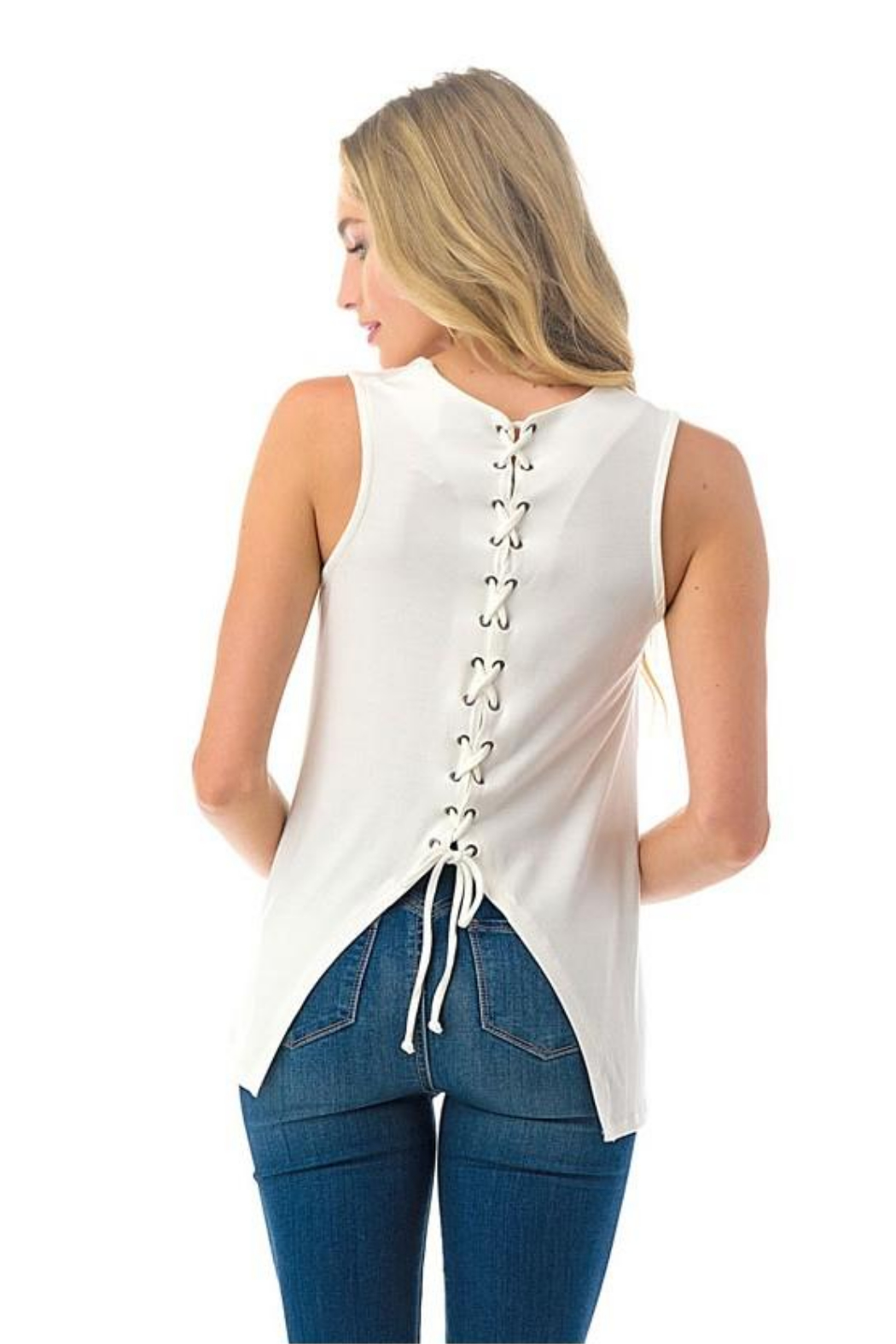 Ariella USA Lace Up Back Tank - Front Cropped Image